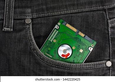 Hard drive lies in black jeans pocket.
