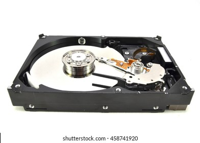 The hard drive on a white background a close up of the electronic engineer of the technician of technology