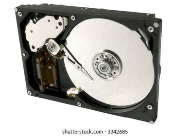 Hard drive uncovered isolated (over white)