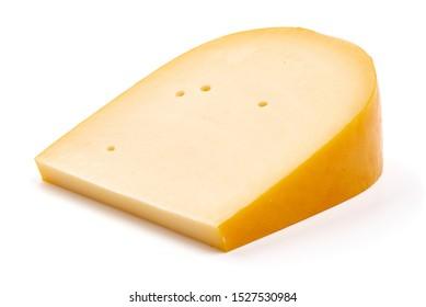 Hard Dutch gouda cheese, isolated on white background.