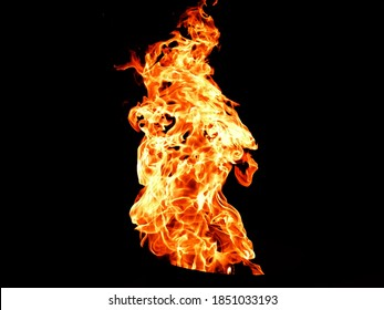 hard fire in black background