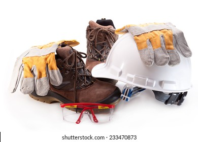 Hard hat, boots, gloves and glasses on a white background