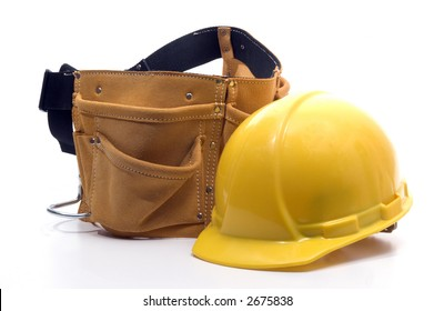 hard hat protection helmet and tool belt heavy duty suede leather work apron with pockets