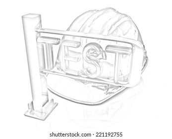 hard hat and turnstile. Technology control concept on a white background. Pencil drawing