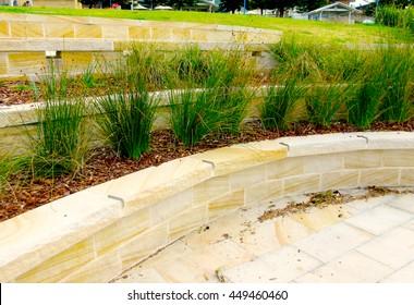 Hard Landscaping - Sandstone Terraces / Retaining Wall (Sydney, Australia)