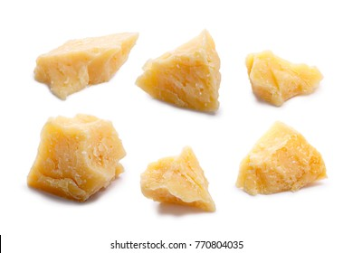 Hard mature cheese (Parmesan, Parmigiano, Grana), rough pieces. Clipping paths for each, shadow separated