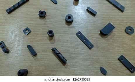 Hard metal abrasion tips used in mining and construction industry.