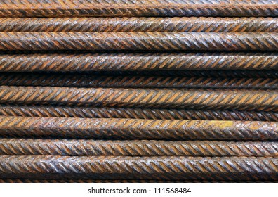 Hard Metal texture pattern of rusty rebars.