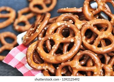 Hard Pretzels or Salted pretzels snack for party in white basket.