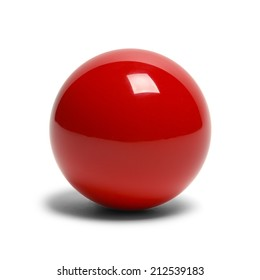 Hard Red Pool Ball Isolated on White Background.