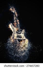Hard rock heavy metal Electric Guitar on fire