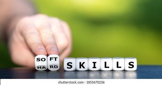 "Hard skills versus soft skills. Dice form the expressions ""hard skills"" and ""soft skills""."