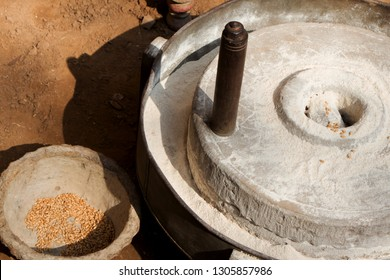 Hard stone wheel used in villages for grinding wheat  and other grain seeds