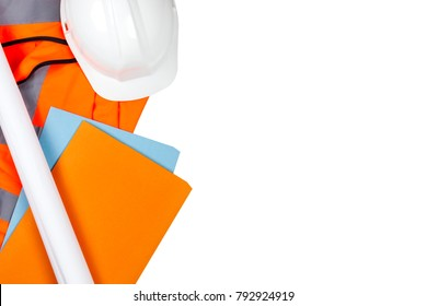 Hard white safety hat and site files laying on a orange hi vis vest on a white isolated background