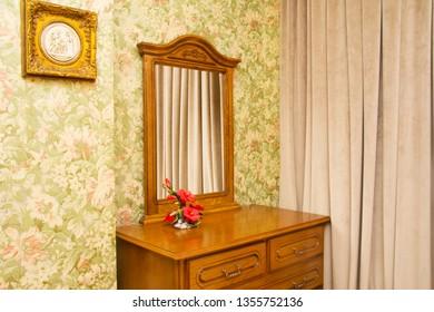 hard wood bedroom furniture mirror