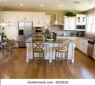 Hard wood flooring in beautiful modern kitchen