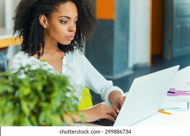 Hard work ensures success. Concentrated young African women working on laptop while sitting at working place
