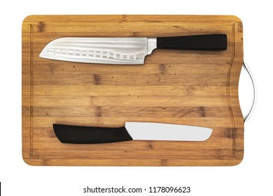 hardboard with pro knives isolated