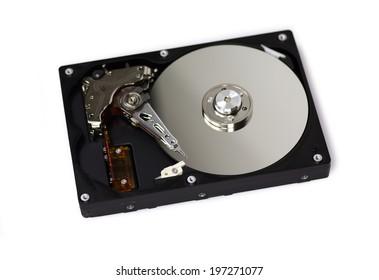 Harddisk opened isolated on white background