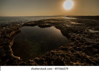 hardened lava magma sunset