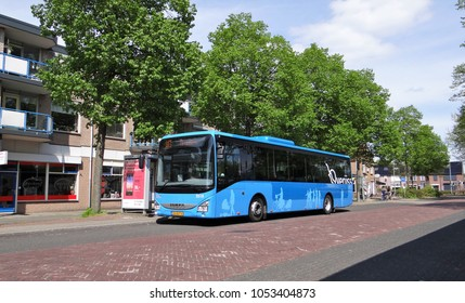 Harderwijk / Netherlands - May 10 2015: A blue Iveco Crossway bus of OV Regio IJsselmond on the bus station in the Dutch town of Harderwijk
