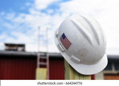 Hardhat with American flag