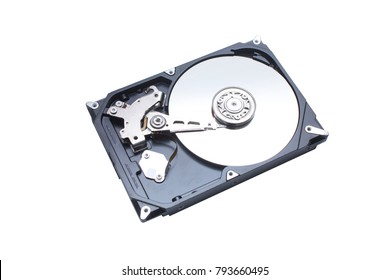 hardisk's internal mechanism hardware isolated on white background and Clipping Path