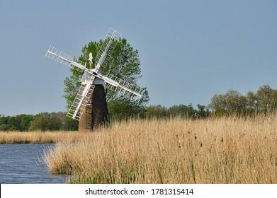 Hardley Windpump - Norfolk Broads.  Restored windpump on the River Yare, Norfolk