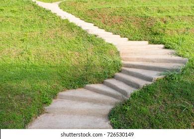 Hardscape walkway curve in garden