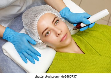 Hardware cosmetology. Mesotherapy. Dermapen. Treatment of the zone of cheekbones. Spa treatments. Face rejuvenation.