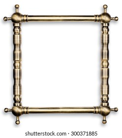 Hardware design concept. Old scratched bronze pipes frame with light reflections made for text or picture isolated on white background. two clipping path included