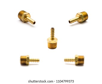 Hardware parts brass hose nipple fuel hose joiner connector for air oil water gas on white background