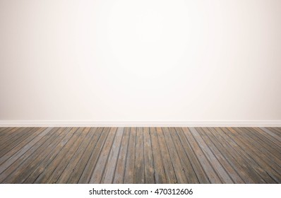 hardwood floor with white wall background. wood floor isolated. empty white wall backdrop: Isolated wooden floor on white color toned background.