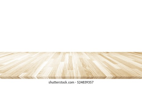 Hardwood maple basketball court floor viewed from above / Old wooden plate isolated on white background.