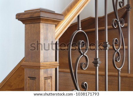 hardwood newel post staircase classic style interior steps stairway design