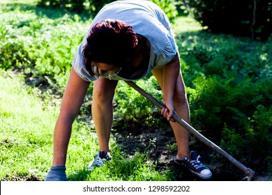 A hardworking farmer holding a gardening tool. The woman bending knees cultivating the topsoil. Preparing the land for planting vegetables. Organic farming concept.