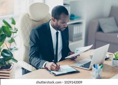 Hardworking financier sitting at desktop in workstation, workplace, watching, looking at documents, report, making notes in his notebook