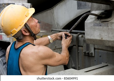 hardworking laborer on construction site