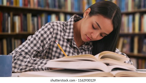 Hardworking Latina student studies for a class in her school library