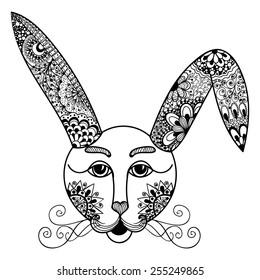 Hare, rabbit doodle style. Hand drawn illustration.