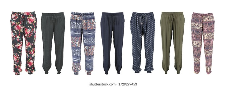 Harem pants collection with pattern. High cut harem pants.  Isolated image on a white background. Elastic band on the legs. Unisex. Set.
