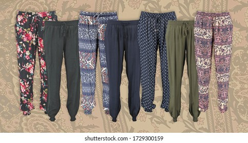 Harem pants collection with pattern. High cut harem pants. Elastic band on the legs. Unisex. Set.