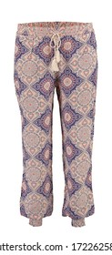 Harem pink pants with pattern. High cut harem pants.  Isolated image on a white background. Elastic band on the legs.