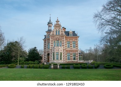 """HAREN, NETHERLANDS - JANUARY 22, 2019: Classic Dutch villa and monument called """"House the Wolf"""" ('t Huis de Wolf) in Haren, Netherlands"""