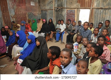 HARGEISA, SOMALIA - JANUARY 11, 2010: African refugee camp on the outskirts of Hargeisa in Somaliland. With the support of UNICEF, an international organization it operates the school.
