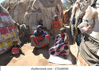 HARGEISA, SOMALIA - JANUARY 11, 2010: Camp for African refugees and displaced people on the outskirts of Hargeisa in Somaliland under the auspices of the UN.One of the largest refugee camps.