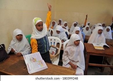 HARGEISA, SOMALIA - JANUARY 12, 2010: Unidentified students at First school Sunshine of Hargeysa. In Somaliland, there are a number of primary and secondary schools, with the acute shortage of material resources and funds.