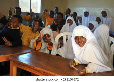 HARGEISA, SOMALIA - JANUARY 12, 2010: First school Sunshine of Hargeysa. In Somaliland, there are a number of primary and secondary schools, with the acute shortage of material resources and funds.