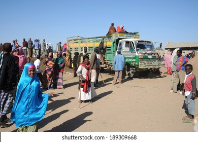 HARGEISA, SOMALIA - JANUARY 8, 2010: Somalis in the streets of the city of Hargeysa. City in Somalia,  capital of  unrecognized state of Somaliland. Much of the population lives in poverty.