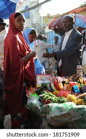 HARGEISA, SOMALIA - JANUARY 8, 2010:Hargeisa is a city in Somalia, the largest city and capital of the unrecognized state of Somaliland. Trading on a city street.
